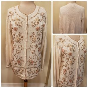 Jenny Cream Embroidered Beaded Cardigan